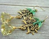 Gold filigree lemon quartz & blue bird chandelier earrings. Wedding earrings