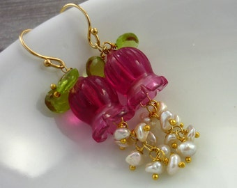Pink quartz & keshi pearl lilly drop earrings.