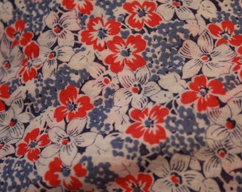 Vintage Feedsack Look Fabric Red White and Blue Flower Pattern Quilt Quilting