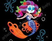 Day of the Dead Mermaid & Octopi/Día de Muertos Sirenas y Pulpos 8x10 Print (Limited Signed and Numbered)