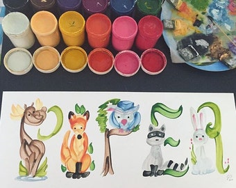 Woodland Creatures Name Painting (custom)