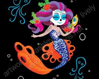 Day of the Dead Mermaid & Octopi/Día de Muertos Sirenas y Pulpos 8x10 Print (FREE SHIPPING)