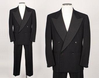 1940s double breasted tuxedo wool and silk grosgrain