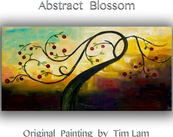"Acrylic Painting Cherry painting Wall art Impasto Texture abstract painting Huge canvas Art original Modern painting  by Tim Lam 48""  x 24"""