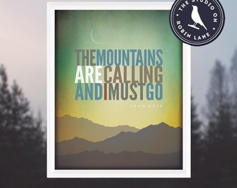 """John Muir–The Mountains are Calling [No.2] 8""""w X10""""h Hiking, Typographic, Outdoor, Nature Decor & Housewares Wall Decor"""