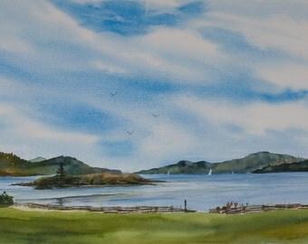 Indian Island, Watercolor Original, Eastsound Waterfront Park, Orcas Island, San Juan Islands, Pacific Northwest, sailboat