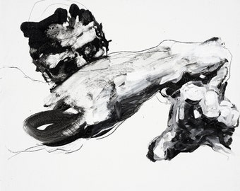 "Expressive Figure Painting, original fine art acyrlic figurative art - ""Faltering man"" - 30 x 25"" -  expressive canvas by Derek Overfield"