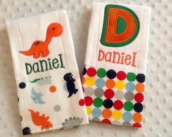 Personalized Set of 2 Baby Boy Burp Cloths,