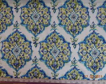Custom Curtains Valance Roman Shade in Blue / Greenish Yellow / Aqua Blue / Lime Green in Damask Pattern