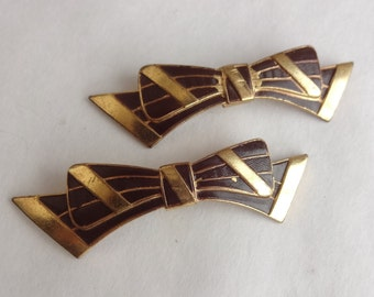Brown Bow Shoe Buckles