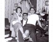 Vintage Photo - Three in a Chair - Vintage Photograph, Snapshot, Ephemera, Vernacular, Found Photo (C)