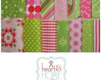 """Lime Green and Pink 5"""" squares Charm Pack, 56 pieces, 100% cotton"""