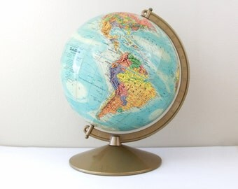 """Vintage Replogle 10"""" World Nation Series Globe Gold Color Metal Stand / Made in USA / Item No. 1581"""