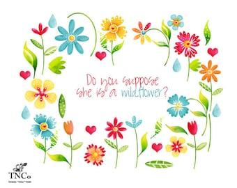 Flower Clipart - Flower clip art - Floral watercolor clipart - Clipart commercial use - wildflower clipart - flower illustration - florals