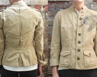 Military Jacket - Koi Fish Khaki Chino Button Up Coat - Extra Small / Small
