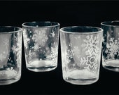 6 Snowflake Engraved Votive or Tea Light Candle Holder - Ready to Ship