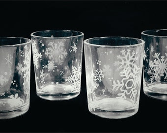 4 Snowflake Engraved Votive or Tea Light Candle Holder - Ready to Ship - Christmas Gifts