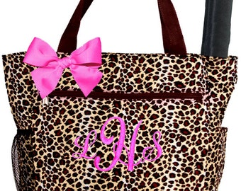 Personalized Brown Cheetah Pattern with Pink Accents Diaper Bag