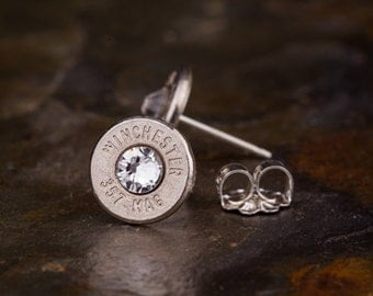Stud Earrings / Win 357 Mag Nickel Bullet Stud Earrings WIN-357M-N-SEAR / Birthstone Bullet Earrings, 357 Magnum Stud Earrings, Custom Studs