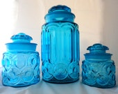 Moon & Stars Turquoise Glass Canisters Set of Three