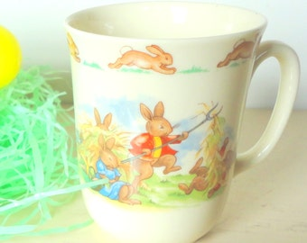 Vintage Royal Doulton Bunnykins one handled, excellent condition