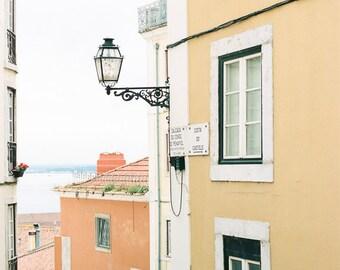 Architecture Travel Photo, Lisbon Art Print, Alfama, Travel Art Print,Romantic Decor,Yellow and Orange Decor, Typical Neighbourhoods Lisbon