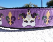 "Dog Collar Mardi Gras & Fleur de Lis 1"" width Side Release buckle OR Martingale style adjustable"