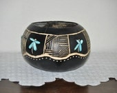 Black and Torquoise Dragonfly Bowl