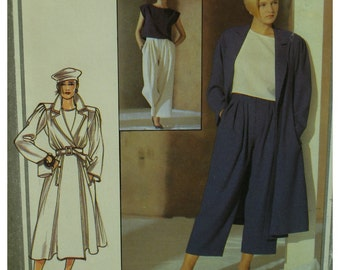 Wrap Coat Pattern, Jasper Conran, Cropped Pants, Notched Collar, Yoke, Pleated Sleeve, Pockets, Style No.4389 Size 14(cut)  OR Size 16 UNCUT