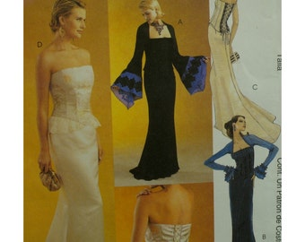 Bustier Evening Gown Pattern, Lace-up Back, Strapless, Fitted Long Skirt, Train, Bell Sleeves, McCalls No. 4248 UNCUT Size 16 18 20 22