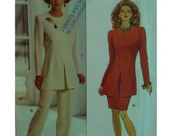 Long Tunic Pattern, Front Hemline Slit, Long Sleeves, Jewel Neck, Straight Skirt, Tapered Pants, Butterick No. 6267 UNCUT Size 12 14 16