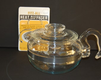 Vintage Blue Tint Pyrex Flameware 6 cup Teapot number 8466 Body and 7756-C1-31 Lid Pyrex Flameware Teapot Optional set of Heat Diffusers