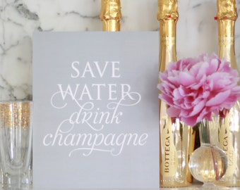 "Save Water Drink Champagne | 8x10 typography print to frame | shimmer ""silver"" grey background"