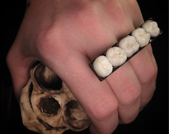 MADE TO ORDER - Tooth Fairy Series: Real Human Molar Double Finger Knuckle Duster in Adjustable Gunmetal or Antique Brass Setting