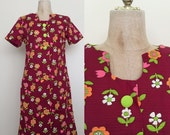 40% OFF 1970's Flower Power Vintage Shift Scooter Dress