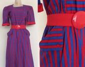 SALE 1980's Blue & Red Striped Cotton Dress w/ Pockets