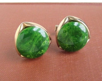 Bakelite & Gold Tone Cuff Links - Marbled Green, Vintage