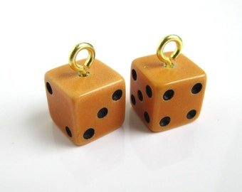 2 Bakelite Dice Charms - Vintage, Yellow, Small
