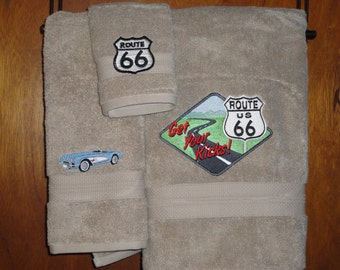 Get Your Kicks on Route 66 - Embroidered Bath Towel Set - Bath Towel, Hand Towel & Washcloth - Shown on Tan with Blue Car
