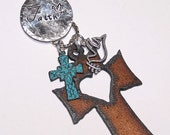 Faith Hand Stamped Rusted Metal Cross Necklace with Heart Cutout - Cross - Dove - Turquoise - Country - Christian - Religious -Western