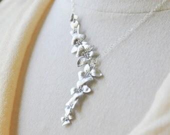 Silver Asymmetrical Dogwood Flower Necklace- Y Style Necklace, Delicate Statement Necklace, Dainty Feminine Necklace, Wedding Jewelry