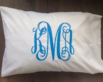 Monogram Pillowcase - CAMP pillow - Glitter Monogrammed Pillow - Personalized Pillow