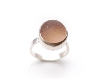 Nude English Sea Glass Ring Sterling Silver Size 7 8 9
