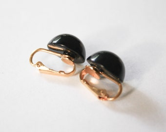 Black Candydrop Clip Earrings