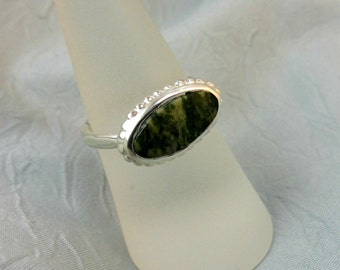 Sideways Oval Moss Agate and Sterling Silver Ring