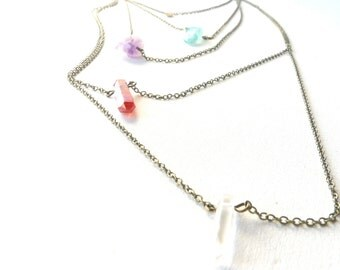 Multi strand delicate multicolor pastel quartz aura necklace ( brass antiqued, indie, dream ) 01