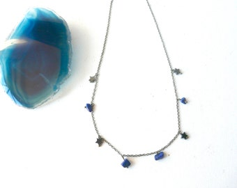 Star and lapis lazuli necklace protection ( blue and black, magic, curse ) 02