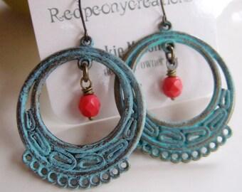 Turquoise Patina Hoop Earrings, Picasso Bead, Blue Filigree Earrings, Moroccan Earrings, Bohemian Style, Tribal, Summer Style