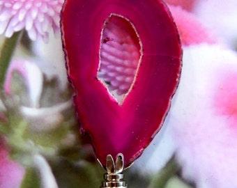 XX Large Hot Pink Druzy Agate Gemstone Lamp Finial Chrome Base