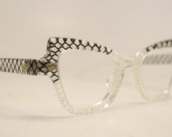 Unused Vintage Lucite Cat Eye Glasses Clear Authentic 1960's Frames
